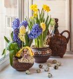 Hyacinths in a pot Ukrainian and Ukrainian folk toy. Stock Photos