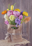 Hyacinths and ranunculus flowers Stock Photography