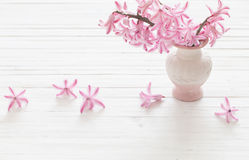 Hyacinths in vase on  wooden planks Stock Photos