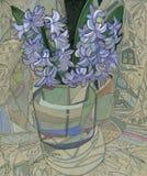 Hyacinthus en florero stock de ilustración