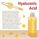 Hyaluronic όξινα μπουκάλι και σιφώνιο τοποθετήστε το κείμενο Στοκ Φωτογραφία