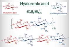 Hyaluronic acid HA, hyaluronate, hyaluronan  macromolecule. Hy. Aluronic acid HA is a viscoelastic biomaterial composed, of repeating disaccharide units of N Royalty Free Stock Images