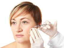 Hyaluronic acid injection for facial  procedure. Hyaluronic acid injection for facial rejuvenation procedure Stock Photography