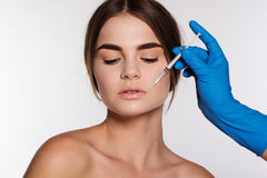 Hyaluronic acid injection for girl's lips Stock Photo