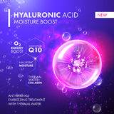 Hyaluronic Acid Moisture Boost. Collagen pink bubble. Hyaluronic Acid Moisture Boost. O2 collagen water molecule pink bubble drop. Skin care marine oxygen Royalty Free Stock Images
