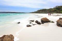 HYAMS BEACH, AUSTRALIA - APRIL 9, 2014;  Tourists enjoy the whit Royalty Free Stock Photo