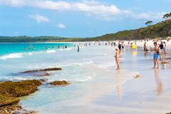 People enjoying the sunny weather at Hyams Beach, NSW, Australia royalty free stock photos
