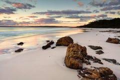 Hyams strandsoluppgång NSW Australien Arkivbilder