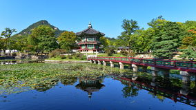 Hyang-Won-Jung Pavilion in the grounds of Gyeongbokgung Palace in Seoul Royalty Free Stock Image