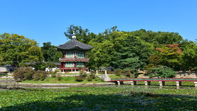 Hyang-Won-Jung Pavilion in the grounds of Gyeongbokgung Palace in Seoul Royalty Free Stock Images