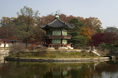 Hyangwonjeong at Gyeongbokgung Palace Seoul Korea. Charming Pavilion in autumn at Gyeongbokgung Palace Seoul, South Korea stock image