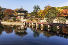 Hyangwonjeong pavilion. During autumn season in gyeongbokgung palace in seoul, south korea Stock Photography