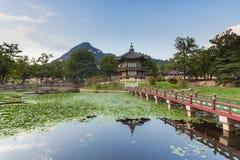 Hyangwonjeong Pavilion of Gyeongbokgung Palace Stock Photography