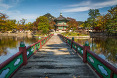 Hyangwonjeong Pavilion. At Gyeongbokgung Palace in Seoul, South Korea, surrounded by autumn colors Stock Photo