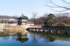 Hyangwonjeong paviljong Royaltyfri Foto