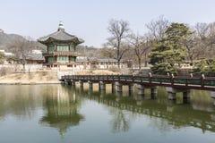 Hyangwonjeong paviljong fotografering för bildbyråer