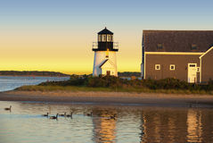 Hyannis Harbor lighthouse, Cape Cod, MA, USA. Lighthouse at sunsetlocated in the town of Hyannis, Cape Cod, Massachusetts royalty free stock photos