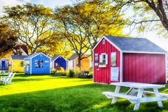 Hyannis Massachusetts Artist area sunny. Colorful small buildings making up an artist`s area near the harbor in Hyannis Massachusetts in the late afternoon sun royalty free stock image