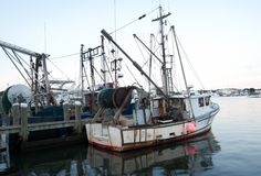 Hyannisport Harbor, Massachusetts. A fishing boat is docked in Hyannisport Harbor after a long work day Stock Image
