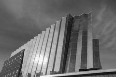 Metropolis of Edmonton Alberta. Hyatt Place Hotel,in the heart  downtown, Edmonton ,Alberta .An almost black and white pic  to give it the metropolis look royalty free stock photos