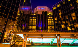 The Hyatt Regency at night, in downtown Baltimore, Maryland. Stock Image