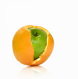 Hybrid. Apple and orange hybrid. On a white background the isolated Royalty Free Stock Images