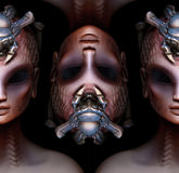 Hybrid alien woman queen pattern strange concept Royalty Free Stock Photos