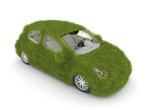Hybrid auto. Ecology car. Green grass car Royalty Free Stock Images