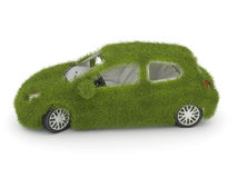 Hybrid auto. Ecology car. Green grass car Royalty Free Stock Photo