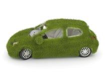 Hybrid auto. Ecology car. Green grass car vector illustration