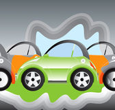 Hybrid Car. Environmentally-friendly battery powered car Stock Illustration