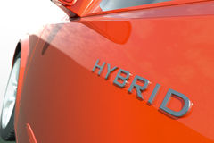 Hybrid car. Close up view of a hybrid car Royalty Free Stock Photos
