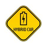 Hybrid car caution sticker. Save energy automobile warning sign. Charging battery contour icon in yellow rhombus. Stock Images
