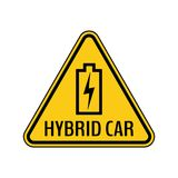 Hybrid car caution sticker. Save energy automobile warning sign. Charging battery contour icon in yellow triangle. Stock Photo