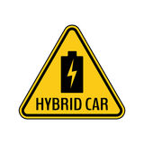 Hybrid car caution sticker. Save energy automobile warning sign. Charging battery icon in yellow and black triangle. Stock Photography