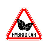 Hybrid car caution sticker. Save energy automobile warning sign. Eco leaves icon in red triangle to a vehicle glass. Stock Images