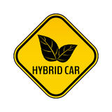 Hybrid car caution sticker. Save energy automobile warning sign. Eco leaves icon in yellow and black rhombus Royalty Free Stock Photography
