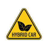 Hybrid car caution sticker. Save energy automobile warning sign. Eco leaves icon in yellow and black triangle. Stock Photo