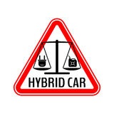 Hybrid car caution sticker. Save energy automobile warning sign. Electric plug and fuel canister icon in red triangle. Stock Photography