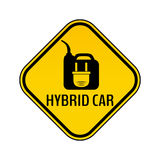 Hybrid car caution sticker. Save energy automobile warning sign. Electric plug on fuel canister icon in yellow rhombus. Stock Photo