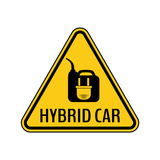 Hybrid car caution sticker. Save energy automobile warning sign. Electric plug on fuel canister icon in yellow triangle. Stock Photo