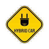 Hybrid car caution sticker. Save energy automobile warning sign. Electric plug icon in yellow and black rhombus. Royalty Free Stock Image