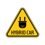 Hybrid car caution sticker. Save energy automobile warning sign. Electric plug icon in yellow and black triangle. Stock Images