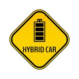 Hybrid car caution sticker. Save energy automobile warning sign. Fully charged battery icon in yellow and black rhombus. Royalty Free Stock Images