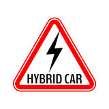 Hybrid car caution sticker. Save energy automobile warning sign. Lightning icon in red triangle to a vehicle glass. Royalty Free Stock Image