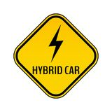 Hybrid car caution sticker. Save energy automobile warning sign. Lightning icon in yellow and black rhombus. Stock Image