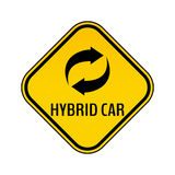 Hybrid car caution sticker. Save energy automobile warning sign. Recycle icon in yellow and black rhombus. Royalty Free Stock Photography