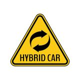 Hybrid car caution sticker. Save energy automobile warning sign. Recycle icon in yellow and black triangle. Royalty Free Stock Photos