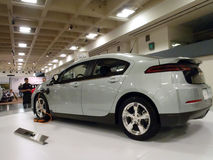Hybrid car the Chevy Volt on display on platform stock images