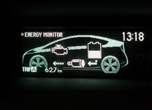 Hybrid Car Display Screen. The Information Display screen in Hybrid vehicle Stock Photo